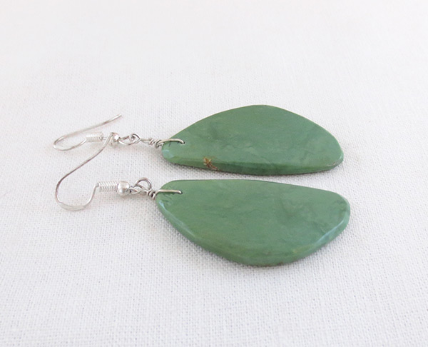 Image 1 of    Green Turquoise Slab Earrings Santo Domingo Made - 3625rio
