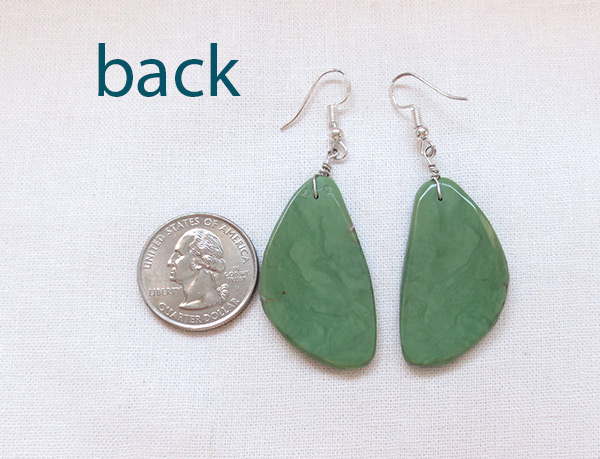 Image 2 of    Green Turquoise Slab Earrings Santo Domingo Made - 3625rio