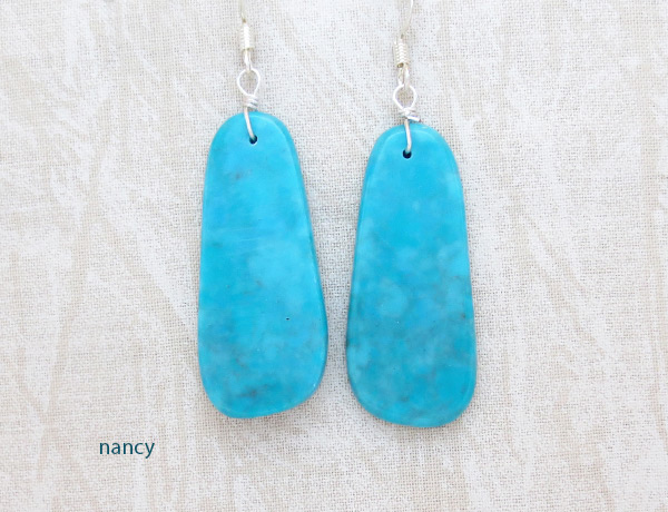 Image 0 of    Turquoise Slab Earrings Native American Jewelry Kewa - 3627rio