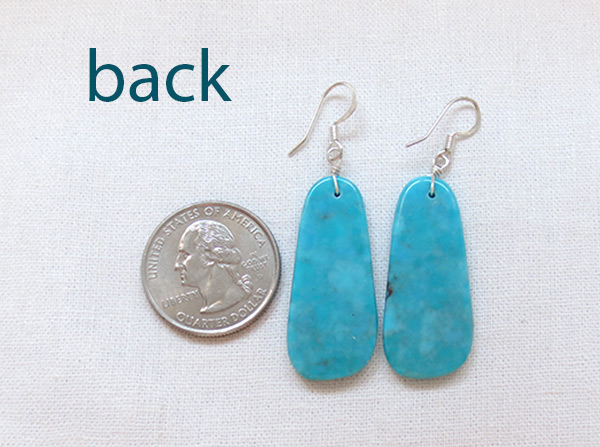 Image 2 of    Turquoise Slab Earrings Native American Jewelry Kewa - 3627rio