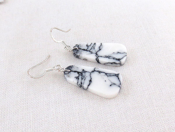Image 1 of   Howlite Slab Earrings Native American Made Jewelry - 3628rio