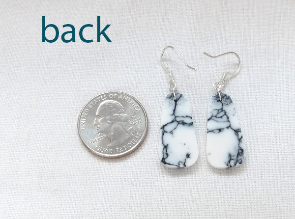 Image 2 of   Howlite Slab Earrings Native American Made Jewelry - 3628rio