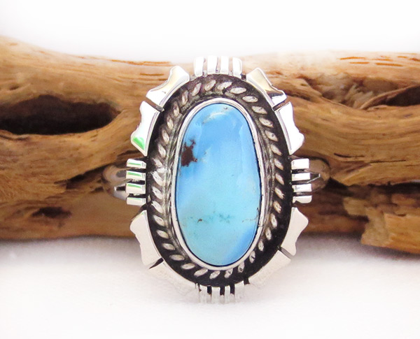 Golden Hill Turquoise & Sterling Silver Ring Sz 10.5 Navajo Made - 3325rio