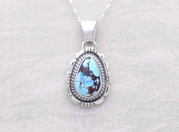 Golden Hill Turquoise & Sterling Silver Pendant Navajo Made - 3117rio