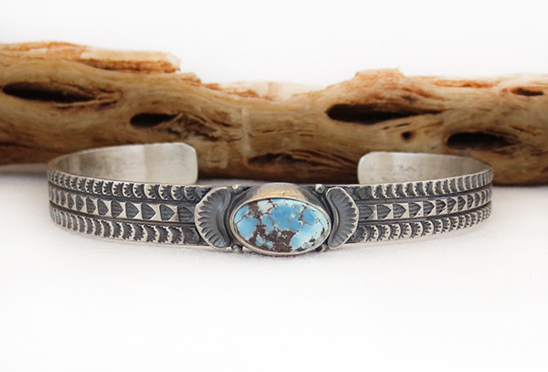 Golden Hill Turquoise & Sterling Silver Bracelet Navajo Made - 3140rio