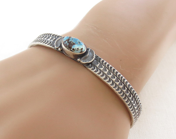 Image 1 of       Golden Hill Turquoise & Sterling Silver Bracelet Navajo Made - 3140rio