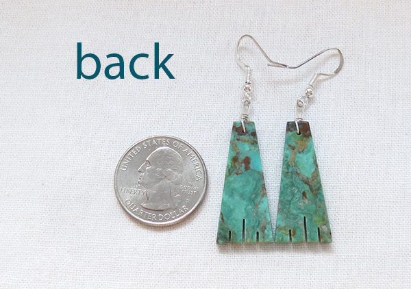 Image 2 of     Carved Turquoise Slab Earrings Native American Jewelry Kewa - 5348rio