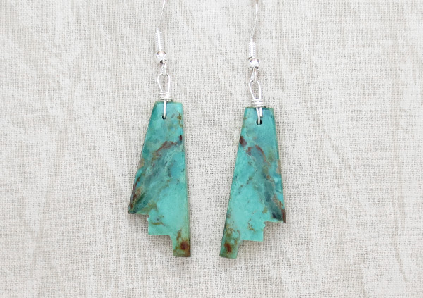 Image 0 of       Carved Turquoise Slab Earrings Native American Jewelry Kewa - 5248rio