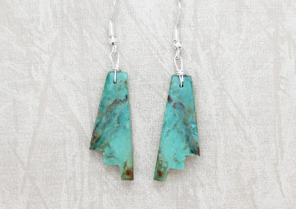 Carved Turquoise Slab Earrings Native American Jewelry Kewa - 5248rio