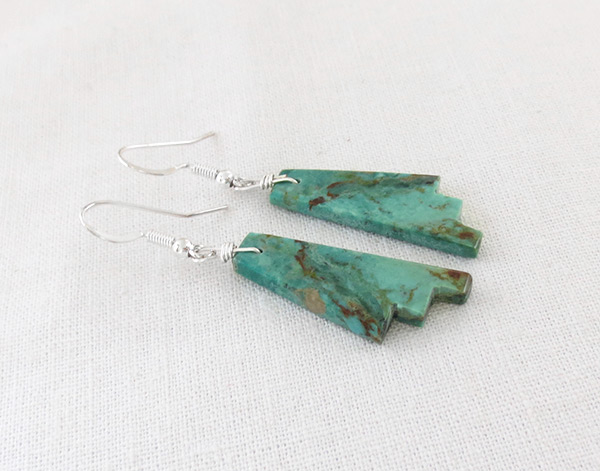 Image 1 of       Carved Turquoise Slab Earrings Native American Jewelry Kewa - 5248rio
