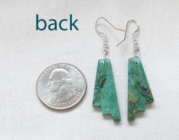 Image 2 of       Carved Turquoise Slab Earrings Native American Jewelry Kewa - 5248rio