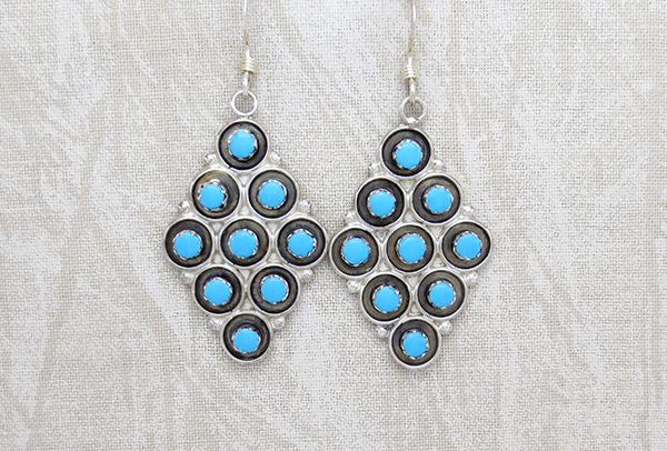 Image 0 of     Sterling Silver & Turquoise Earrings Zuni Jewelry - 5140rio