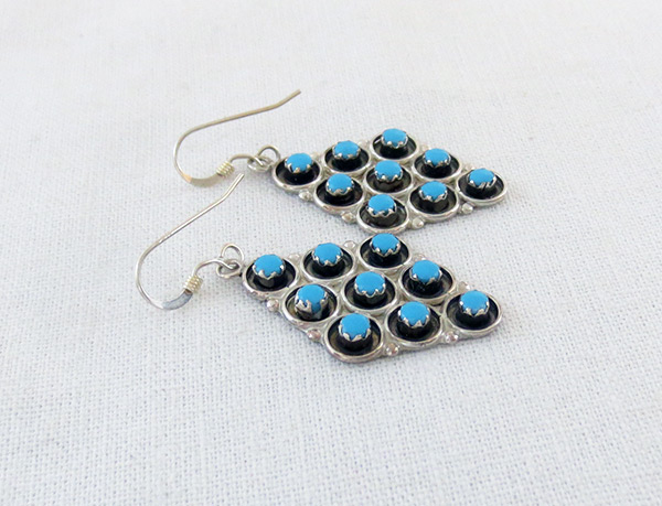 Image 1 of     Sterling Silver & Turquoise Earrings Zuni Jewelry - 5140rio