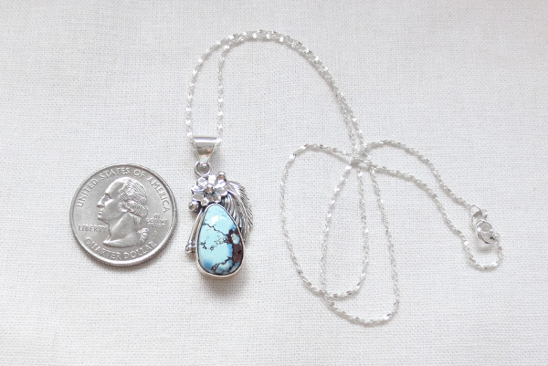 Image 1 of    Golden Hill Turquoise & Sterling Silver Pendant Navajo Made - 3128rio