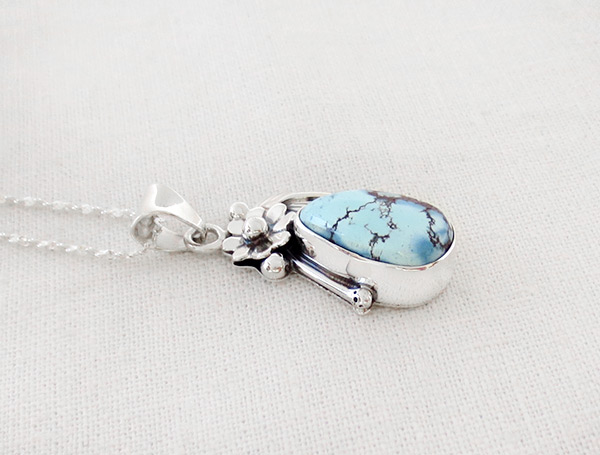 Image 2 of    Golden Hill Turquoise & Sterling Silver Pendant Navajo Made - 3128rio
