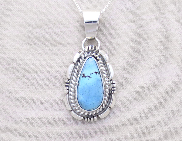 Golden Hill Turquoise & Sterling Silver Pendant Navajo Made - 3125rio