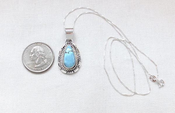 Image 1 of   Golden Hill Turquoise & Sterling Silver Pendant Navajo Made - 3125rio