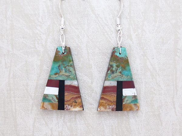 Mosaic Turquoise Jet Inlay Earrings Santo Domingo Jewelry - 1138rio