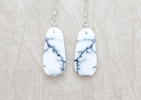 Howlite Slab Earrings Native American Jewelry - 1142rio