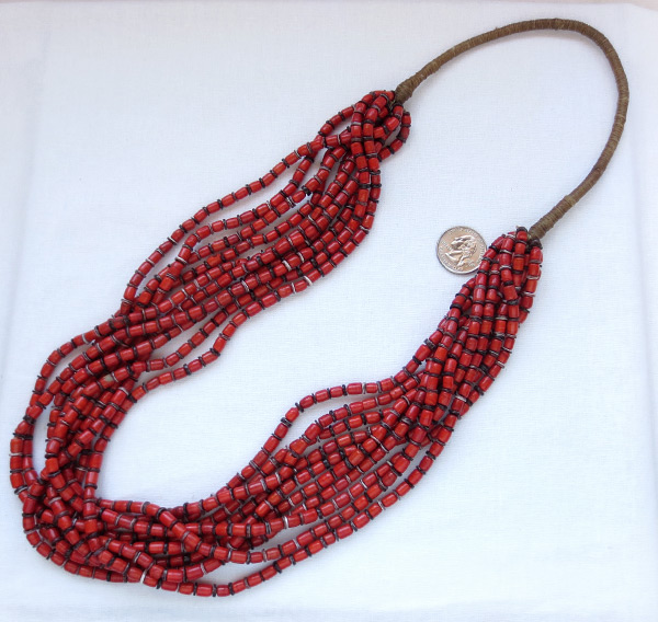 Santo Domingo 10 Stand Red Bamboo Coral Squaw Wrap Necklace - 1146rio