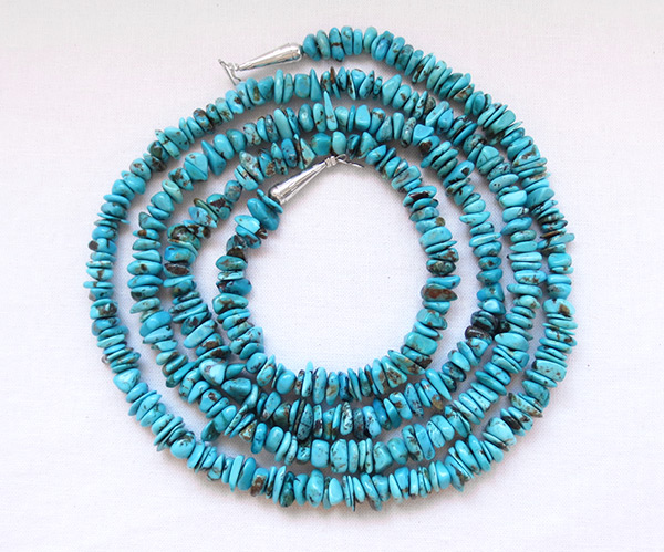 Long 48 Kingman Turquoise Necklace Native American Jewelry - 1147rio