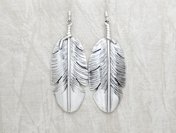 Classic Sterling Silver Feather Earrings Navajo Jewelry - 1149pl