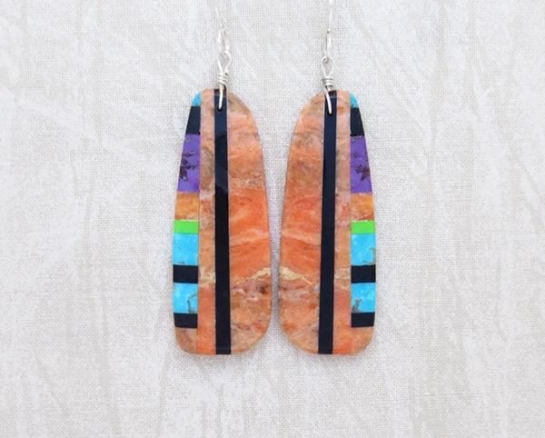 Orange & Stone Slab Earrings Native American Jewelry - 1152pl