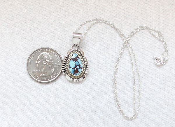 Image 1 of   Golden Hill Turquoise & Sterling Silver Pendant Navajo Made - 6105rio