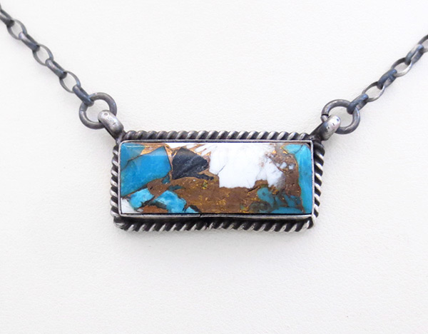 Turquoise & Sterling Silver Pendant Necklace Navajo Jewelry - 6102dt