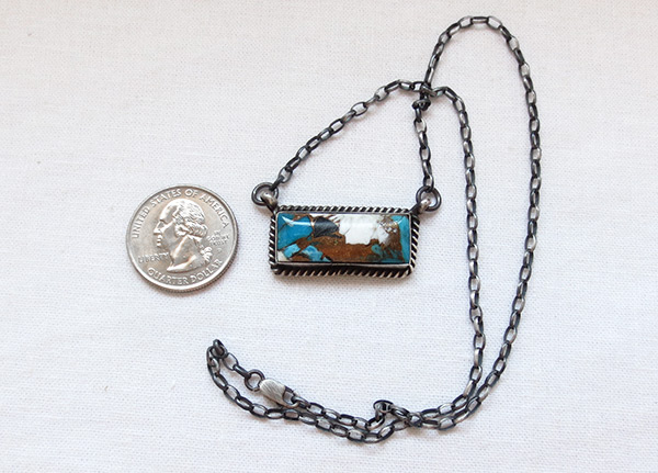 Image 2 of    Turquoise & Sterling Silver Pendant Necklace Navajo Jewelry - 6102dt