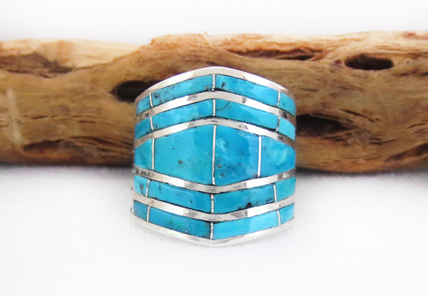 Turquoise Inlay & Sterling Sterling Ring Sz 8.5 Zuni Jewelry - 6103rio