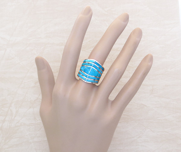 Image 1 of        Turquoise Inlay & Sterling Sterling Ring Sz 8.5 Zuni Jewelry - 6103rio