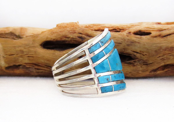 Image 2 of        Turquoise Inlay & Sterling Sterling Ring Sz 8.5 Zuni Jewelry - 6103rio