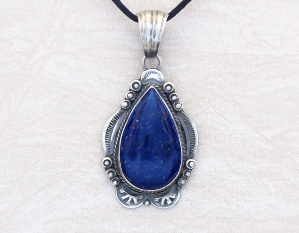 Big Lapis & Sterling Silver Pendant Old Style Navajo jewelry - 6107dt