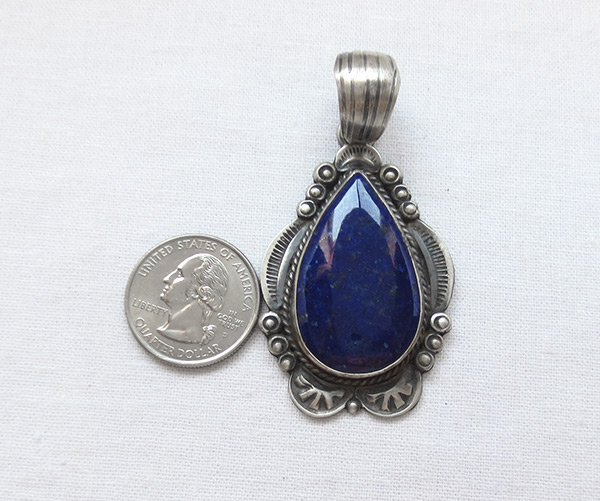 Image 1 of    Big Lapis & Sterling Silver Pendant Old Style Navajo jewelry - 6107dt