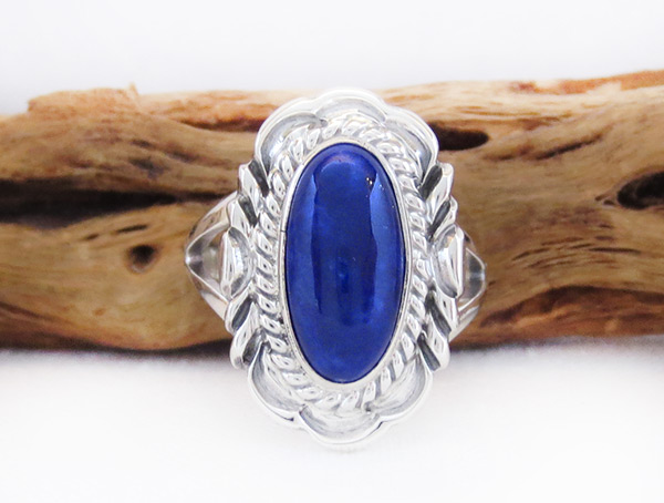 Image 0 of Lapis & Sterling Silver Ring Sz 8 Native American Jewelry - 6108pl