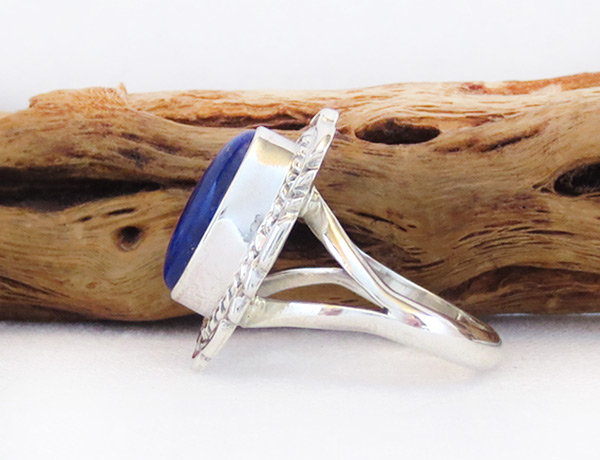 Image 2 of Lapis & Sterling Silver Ring Sz 8 Native American Jewelry - 6108pl