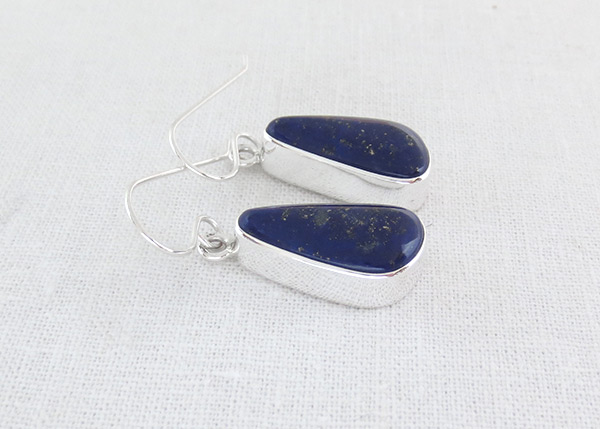 Image 1 of    Lapis & Sterling Silver Earrings Native American Jewelry - 6127pl