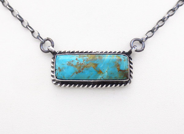 Turquoise & Sterling Silver Bar Pendant Necklace Navajo Jewelry - 6124dt