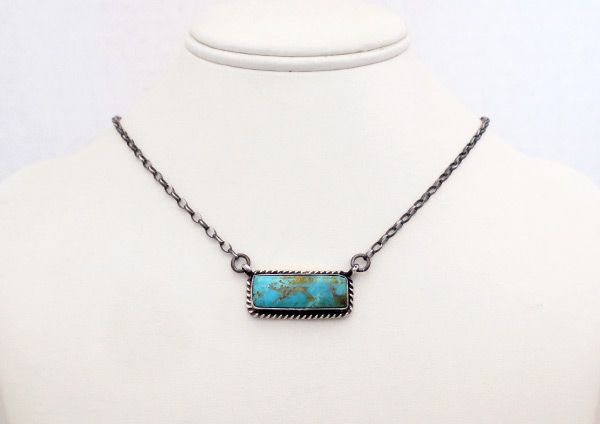 Image 1 of     Turquoise & Sterling Silver Bar Pendant Necklace Navajo Jewelry - 6124dt