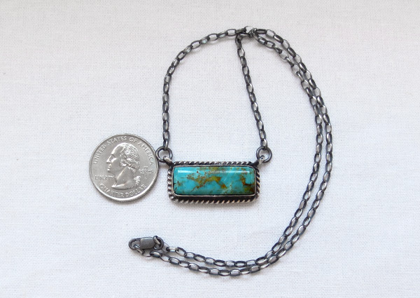 Image 2 of     Turquoise & Sterling Silver Bar Pendant Necklace Navajo Jewelry - 6124dt