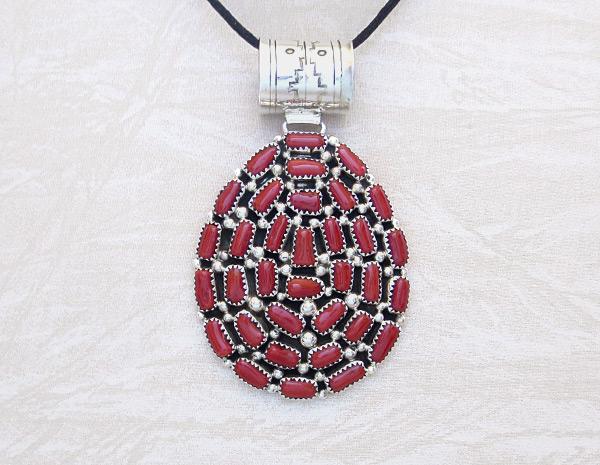 Large Red Coral & Sterling Silver Pendant Navajo Marlene Haley - 6104dt