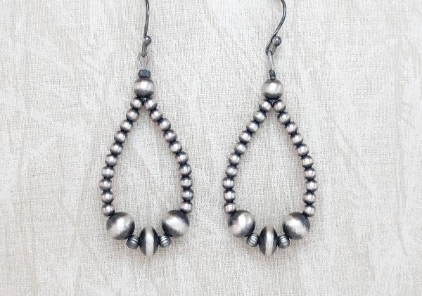 Sterling Silver Desert Pearl Earrings Native American Jewelry - 6135rio