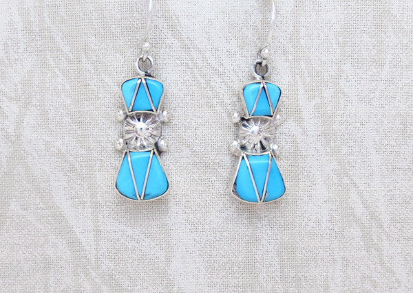 Turquoise Inlay & Sterling Silver Earrings Zuni Jewelry - 1153sn
