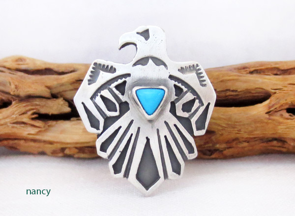 Navajo Jewelry Turquoise & Sterling Silver Thunderbird Ring Sz 7.75 - 4112rb