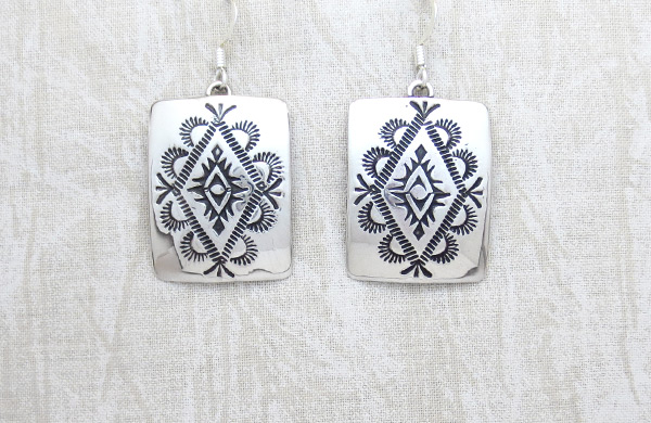 Stamped Sterling Silver Earrings Native American Jewelry - 1154rio