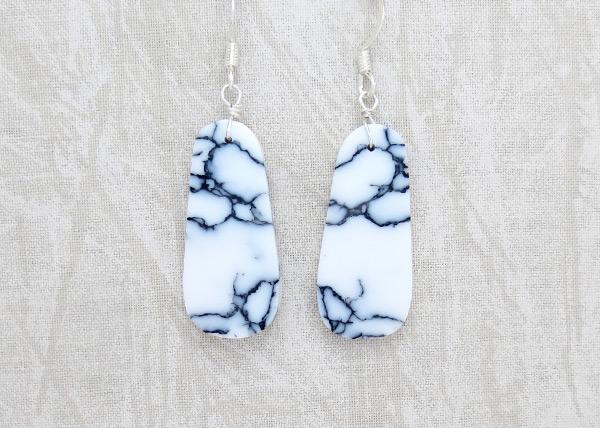 Howlite Slab Earrings Native American Made Jewelry - 6142rio