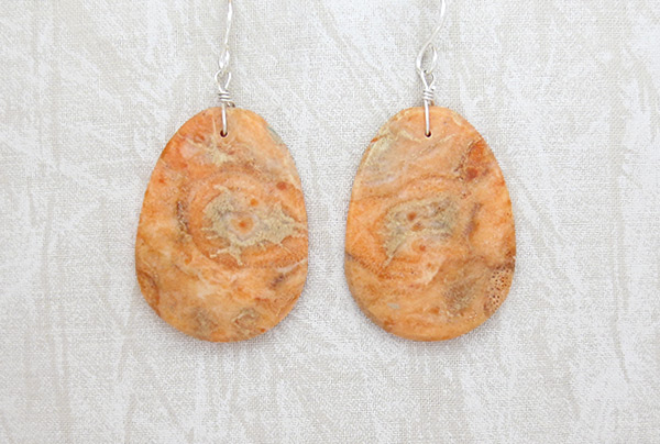 Orange Apple Coral Earrings Santo Domingo Kewa  - 6139pl