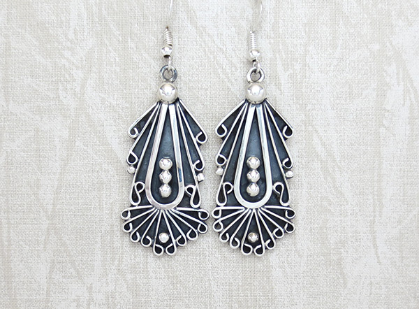 Image 0 of   Large Sterling Silver Earrings Native American Jewelry - 6129rio