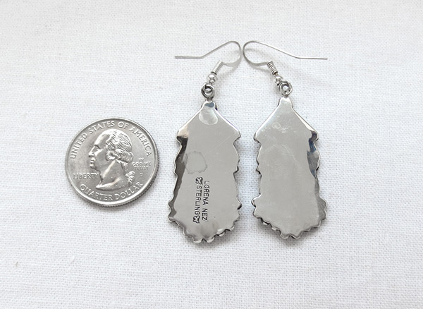 Image 2 of   Large Sterling Silver Earrings Native American Jewelry - 6129rio